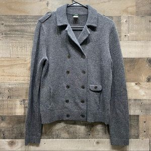 J Crew Sweater Double Breasted Button Wool Gray M
